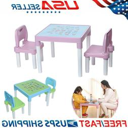 Kids Activity Plastic Table And 2 Chairs Set, Set For Boys O