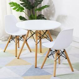 Kids Modern White Dining Table Set with 2 Armless Chairs For
