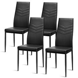 4 PCS High Back PVC Dining Room Chairs Metal Frame Office Ch