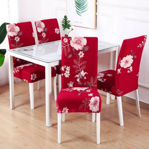 1/4/6pcs Spandex Stretch Printed Dining Chair Home