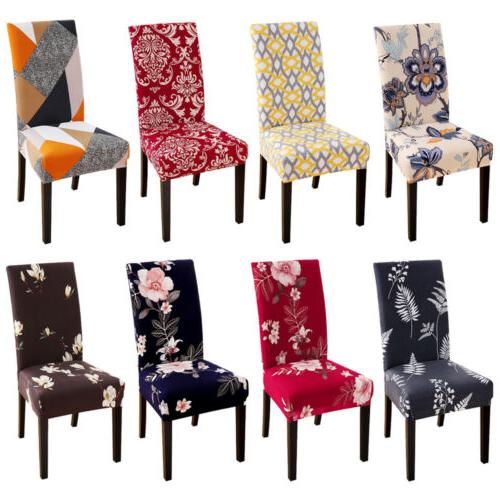 1/4/6pcs Stretch Spandex Dining Room Printed Chair Covers Sl