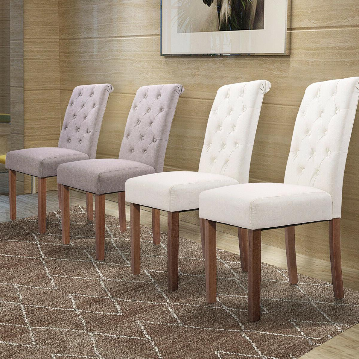 2 pcs dining side chairs w backrest