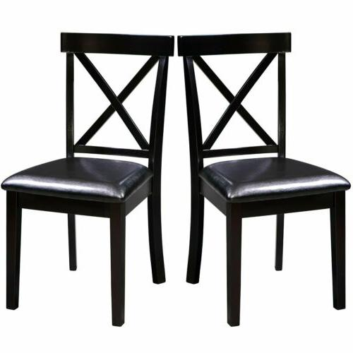2 pcs leather wood dining chair dining