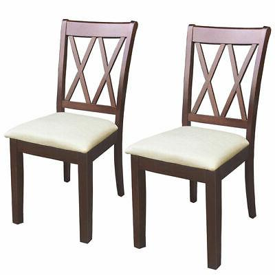 2-Set Home Chairs Upholstered Seat Fabric Kitchen