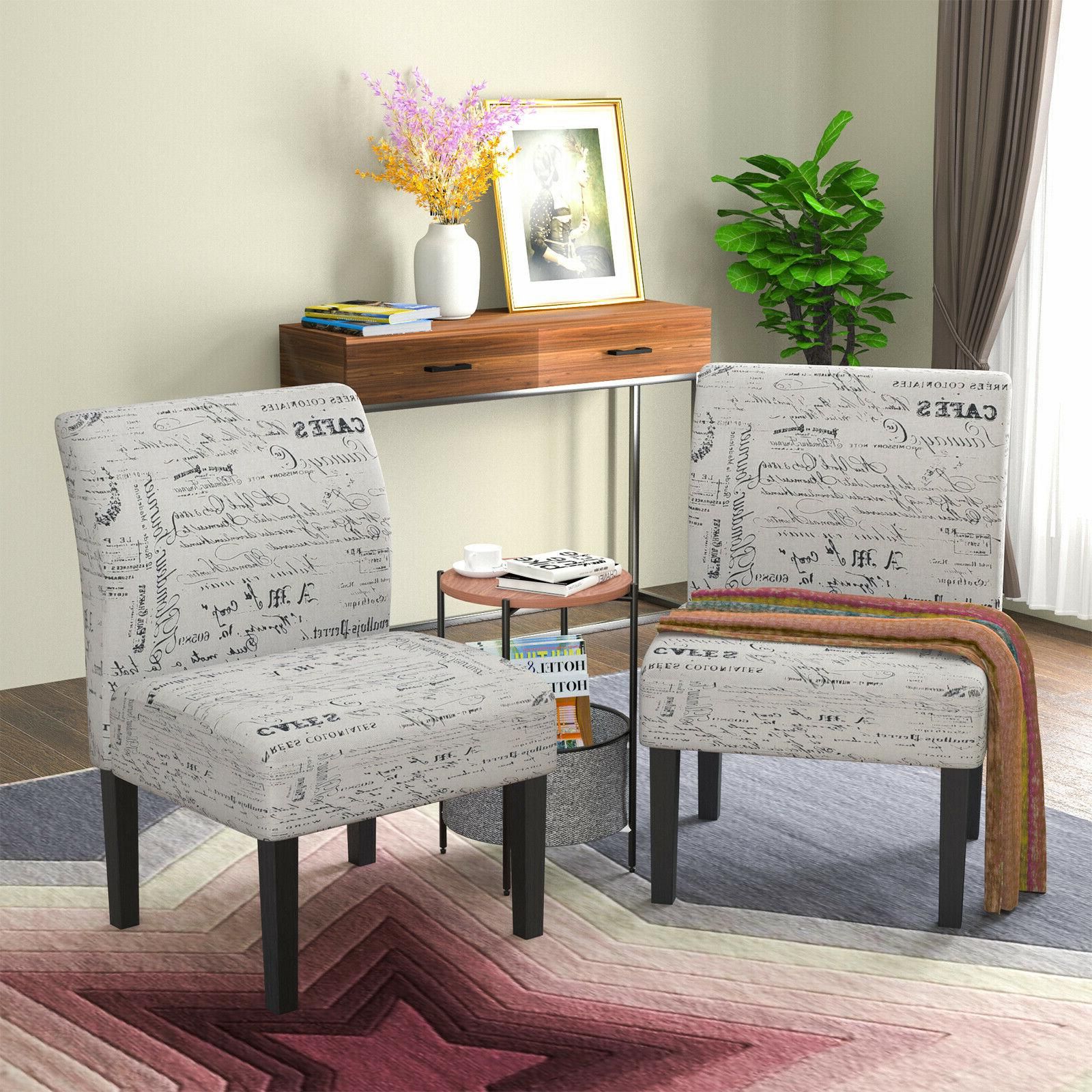 2pcs armless dining accent chair upholstered tufted