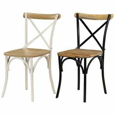 2x solid mango wood cross chairs dining