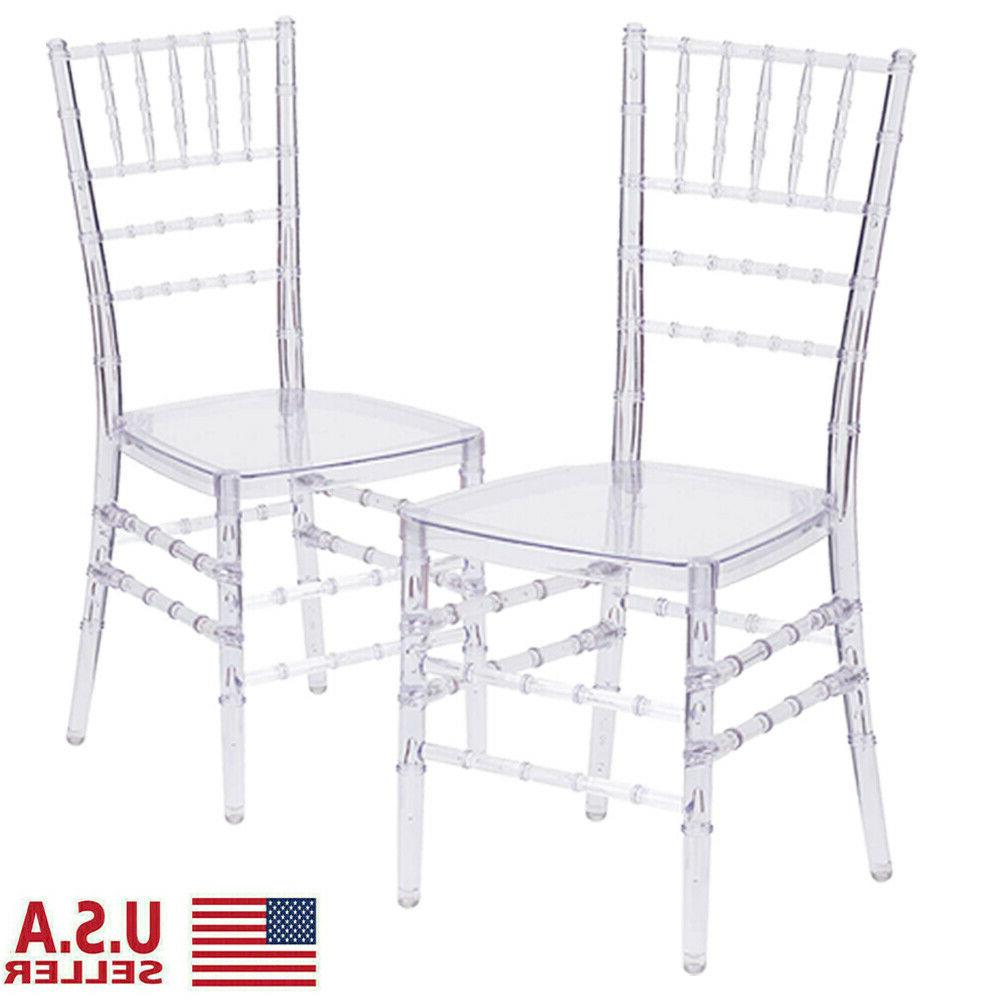 4 Pcs Crystal Wedding Stacking Chair Clear Side Dining Ghost