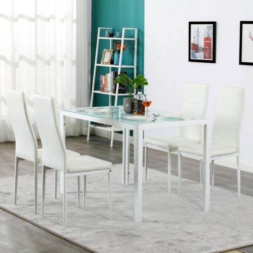 upholstered 5 piece set glass table 4