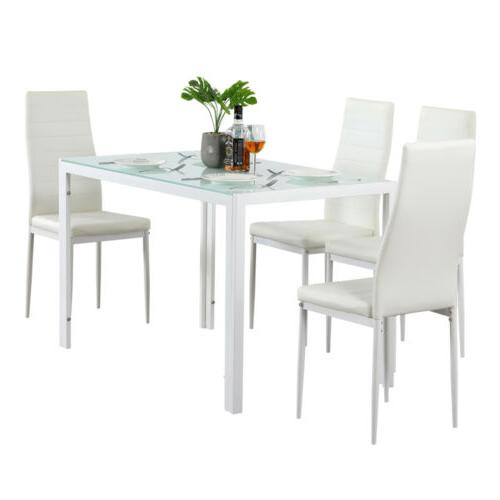 Upholstered Glass Table 4 Side Home Kitchen White