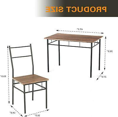 Set 4 Chairs Wood Table Kitchen Room