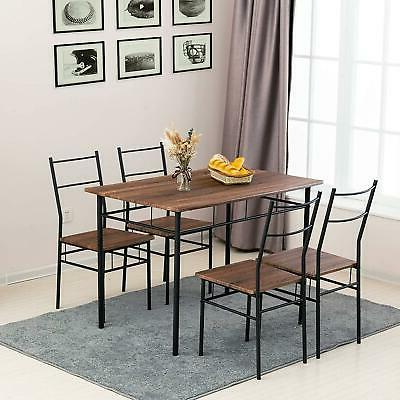 5-Piece Table Chairs Set With 4 Wood Kitchen Room