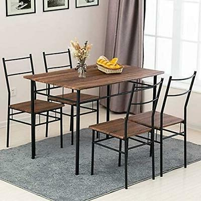 5-Piece Set With Chairs Wood Kitchen Room