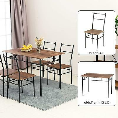 5-Piece Dining Table Chairs Set 4 Chairs Kitchen
