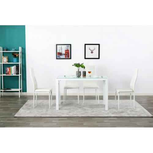 Upholstered Glass Table Side Kitchen White