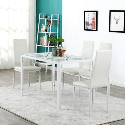 5pcs faux mable and pu leather dining