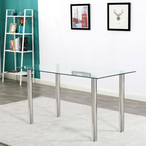 Dining Set Glass Top Table and 6 Leather Chair for Kitchen D