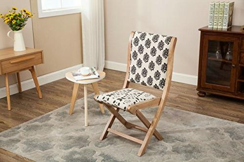 Boraam Folding Dining Chair, black, Beige, & Natural,