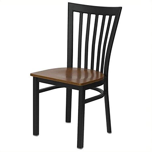 Black Metal Chair with Cherry Seat