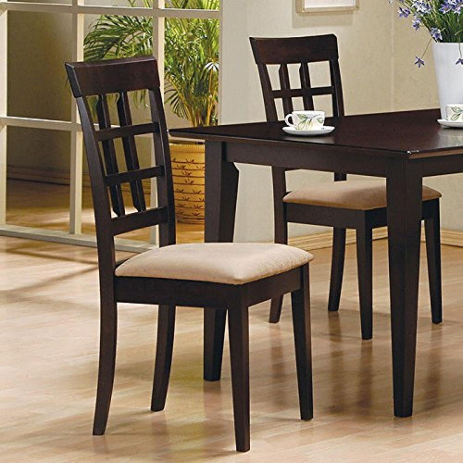 Dining Chair 2 Cushion Wood Seat New