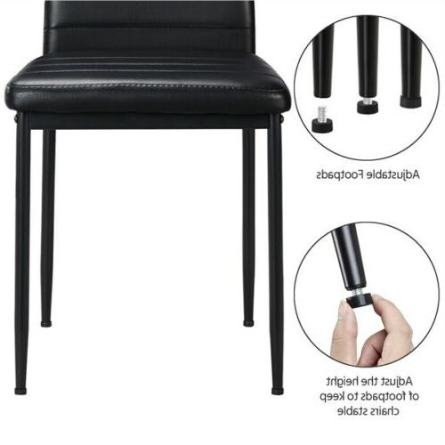 Dining Chairs High Faux Leather Modern Metal Seat 2pcs