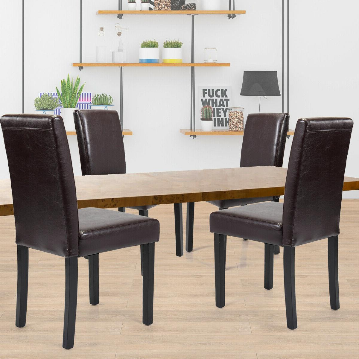Dining Room Chairs Kitchen Formal Elegant Leather Design 4 S