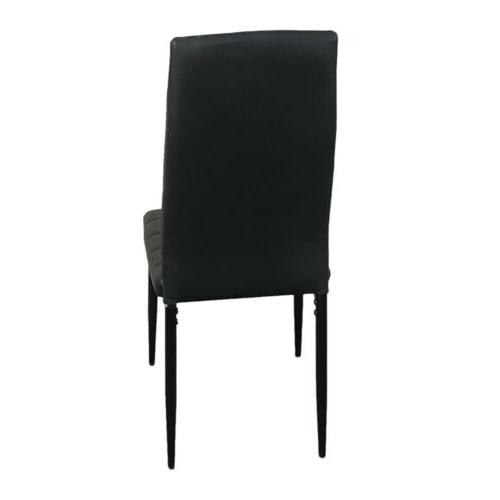 Set of 4 Leather Side Chairs Black