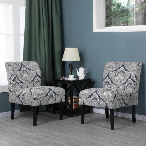 Fabric  Slipper Chair Armless Accent Chair Dining Chair Bedr