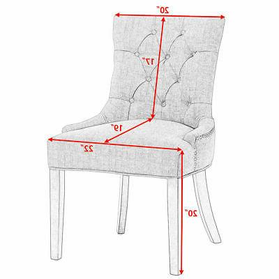Fabric Dining Chair Leisure Padded Nailed