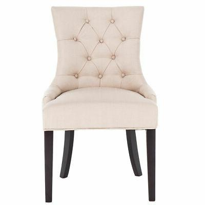 Fabric Dining Chair Tufted Leisure Upholestered Nailed Trim w/ Legs