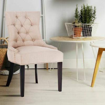 Fabric Dining Chair Tufted Leisure Trim w/