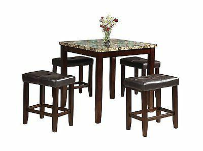 5 PCs Faux Marble Dining Table Set by Acme Furniture
