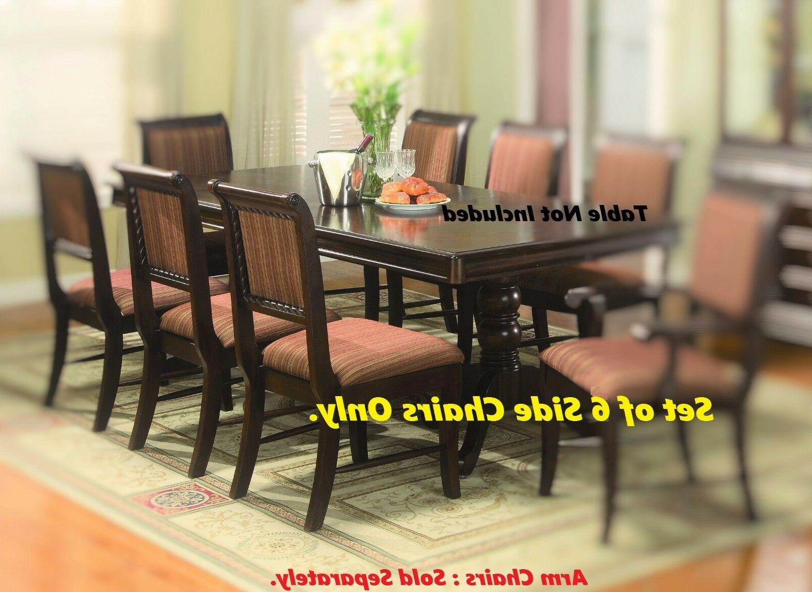 Set of 6 Uph Leather Dining Side Chairs Classic Design Home