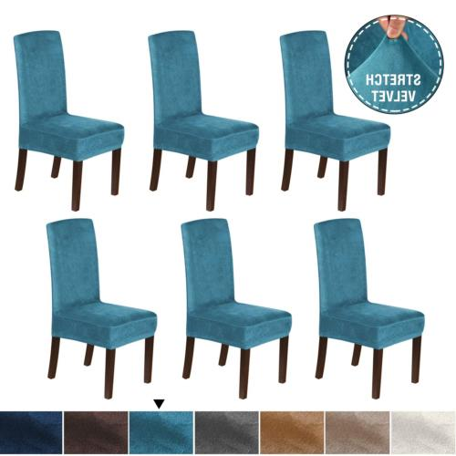 H.VERSAILTEX Rich Velvet Dining Chair Covers Set of 6 Dining