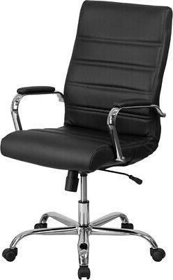 High Back Leather Executive Swivel Office Chair with Chrome
