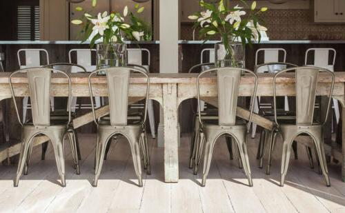 Iron Stackable Chairs of 4