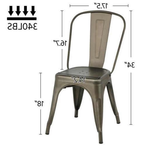 Iron Dining Stackable Chairs Bar Chairs Back