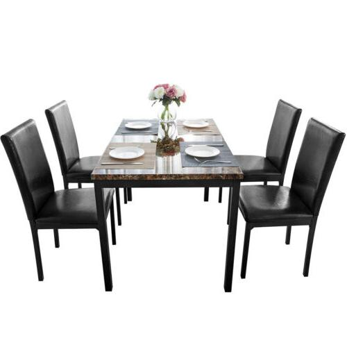 5Pcs Kitchen Room Set Dining Table Chairs Black