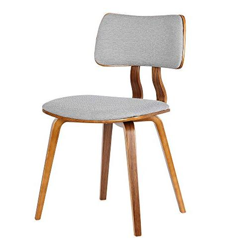 Armen Living LCJASIWAGRAY Dining Chair Fabric and Walnut Finish