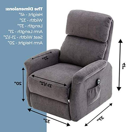 Power Lift Chair and Warm Fabric with Remote Control for Motor Gray