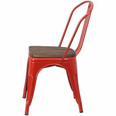 Flash Metal Dining Side Chair and Wood