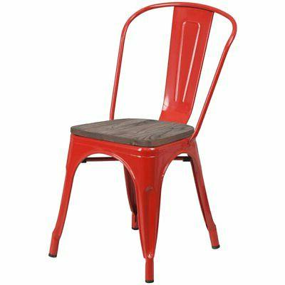 metal dining side chair in red