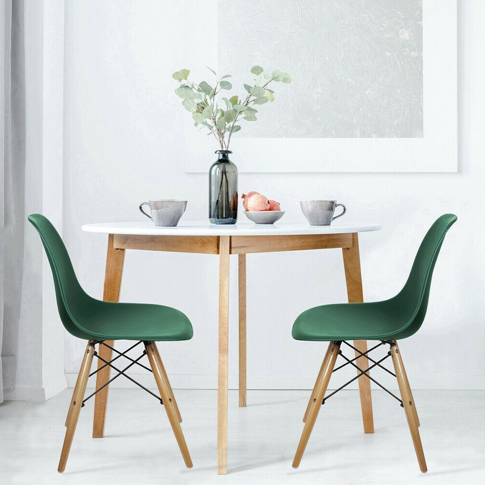 Mid-Century Modern Style Green Armless Dining 2Pack
