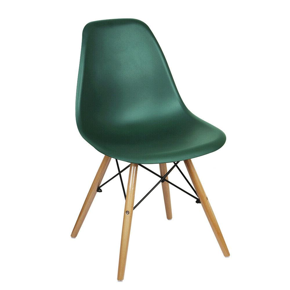 Mid-Century Green Armless Plastic Dining Chair,