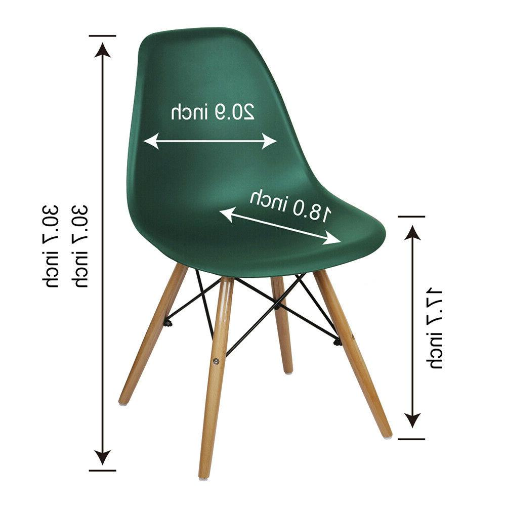 Mid-Century Style Green Plastic Kitchen Dining Chair,