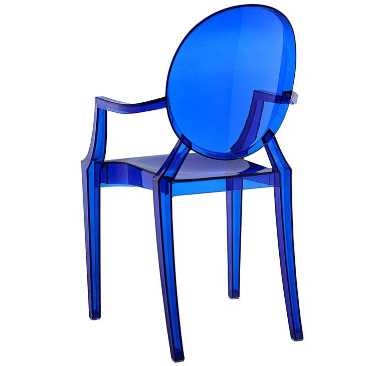 Modern Ghost Chair Arms Blue Dining