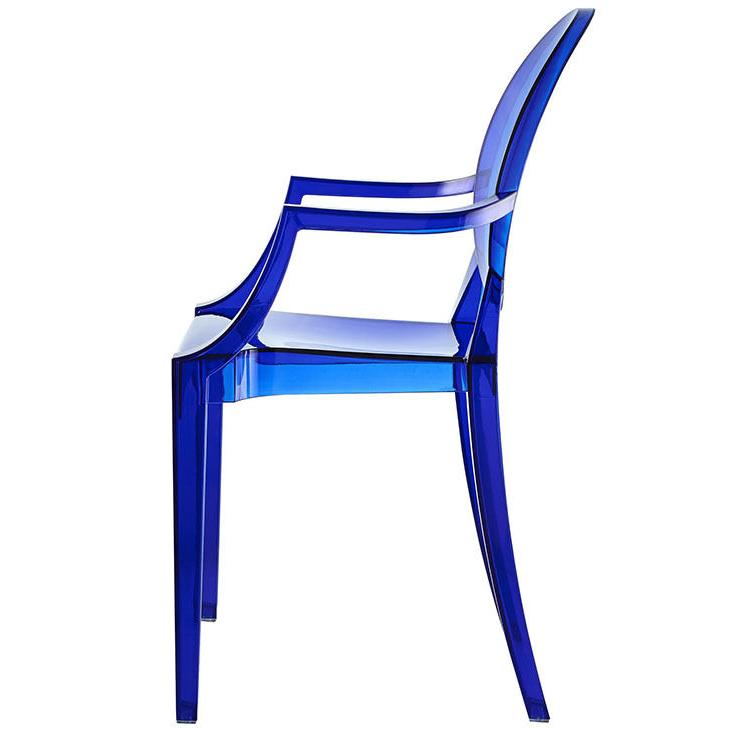 Modern Chair with Arms Crystal Blue Dining
