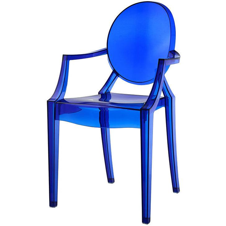 modern ghost chair with arms in transparent