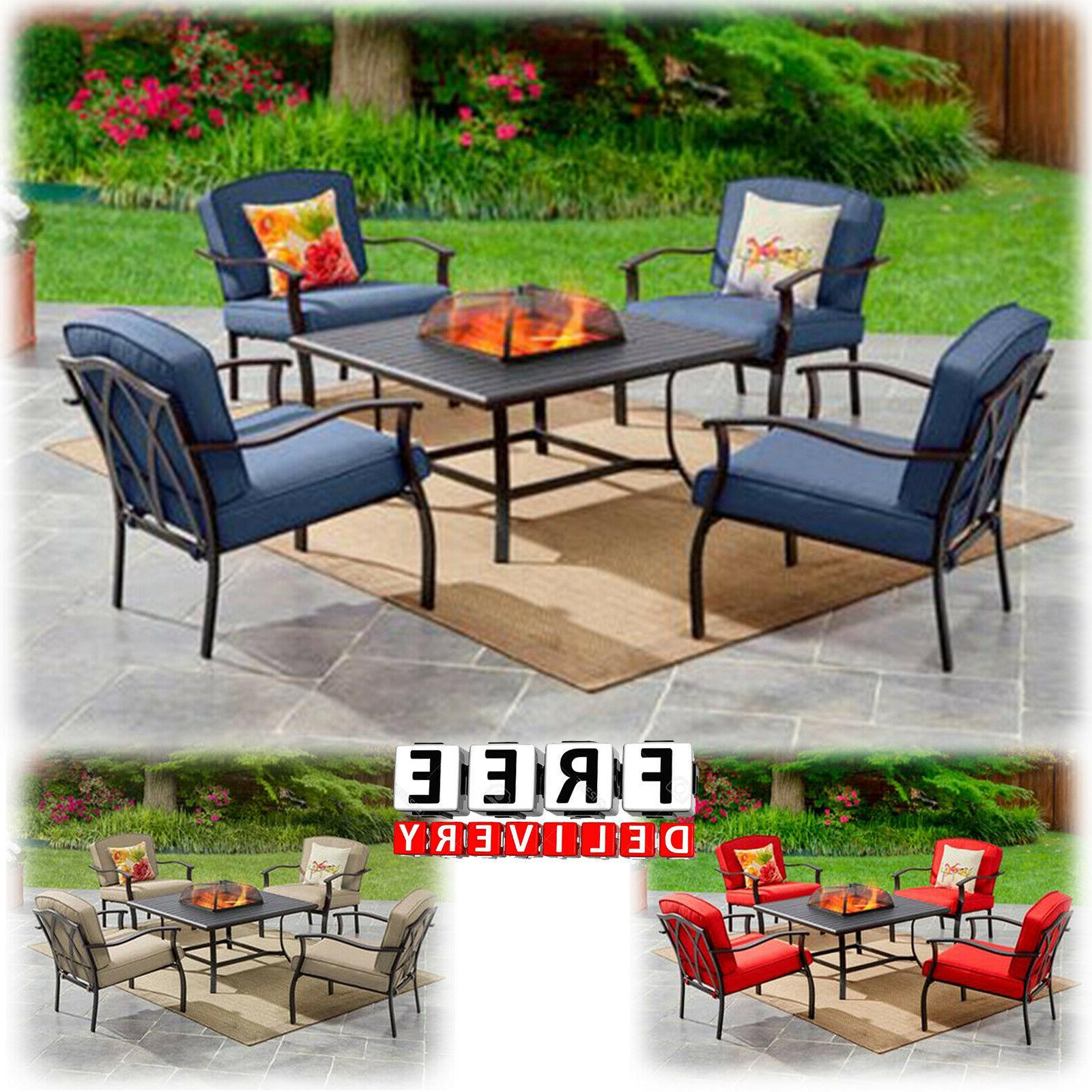 Outdoor Patio Dining Furniture Set 5 Piece Table Chairs Lawn