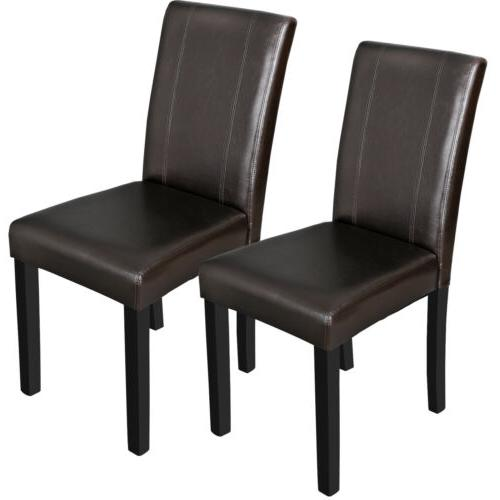 Dining Parson Room Chairs Kitchen Formal Elegant Leather Des