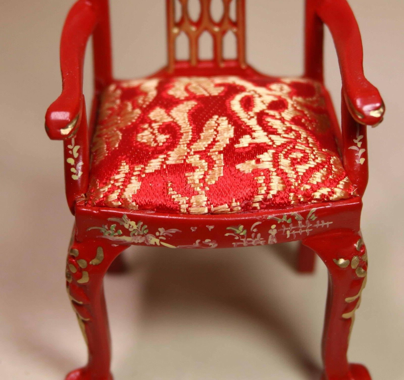 Red Asian Dining Chair MUSEUM QUALITY FURNITURE 1/12